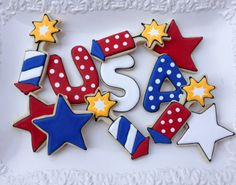 4th of July USA Sugar Cookie Collection by NotBettyCookies on Etsy