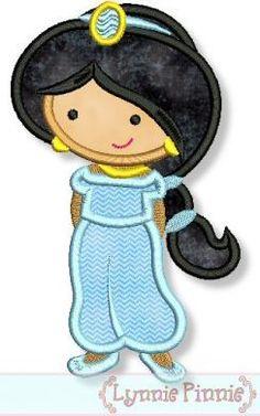 Cutie Princess as Jasmine Applique 4x4 5x7 6x10