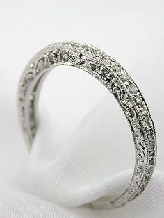 Filigree and Diamond Antique Style Wedding Band so gorgeous! I want this with a matching setting and a huge diamond 0:)