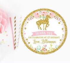 Carousel thank you tag sticker pink and gold first birthday
