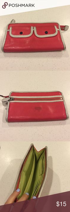 Coach Legacy Two Tone Zippy Wallet Coach Legacy Two Tone Zippy Wallet. Staining and dirty throughout. No rips or tears. Two snap button pockets in front, one zippered pocket in back, 4 card slots, additional pockets for cash and other things. Price reflects condition. Coral. Coach Bags Wallets