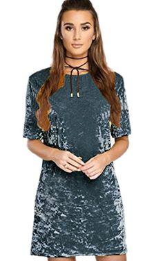 66d4eb1a365 ECOWISH Womens O Neck Vintage Velvet Short Sleeve Casual T Shirt Mini Party  Bodycon Dress
