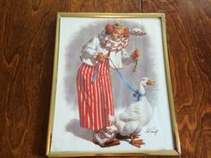 VINTAGE ARTHUR SARNOFF framed circus clown with goose wall art RETRO ART 60s 70s #Vintage