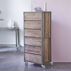 Tikamoon : Atelier khaki Metal and recycled wood Chest of 6 Drawers
