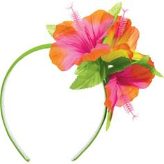 Hawaiian Luau Theme - Giving your guests a hibiscus headband as they walk it a) gets them in the spirit of the party, and b) deals with the party favours!