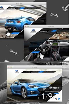 The automobile industry has come far from its car magazine and TV advertisements. Nowadays many of today& luxury car manufacturers have visual-laden and impressive automotive websites designed to make you. Car Brochure, Brochure Layout, Web Layout, Brochure Design, Layout Design, Car Advertising, Advertising Design, Subaru Brz, Automotive Design