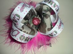 Camo Diva Hair Bow WITH Pink Marabou by sasbowtique on Etsy, $7.00