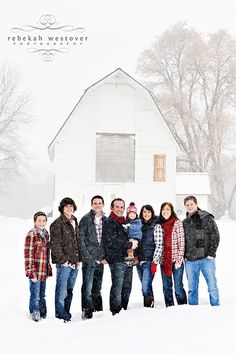 family and snow and barn. this makes me want to have more kids