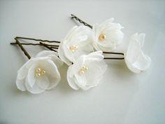 Flores pequeñas, marfil, boda horquillas pasadores, accesorio del pelo de novia, novia Set de 5