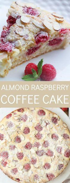 Almond Raspberry Coffee Cake Recipe. Easy coffee cake with a cream cheese layer, fresh raspberries and sliced almonds.