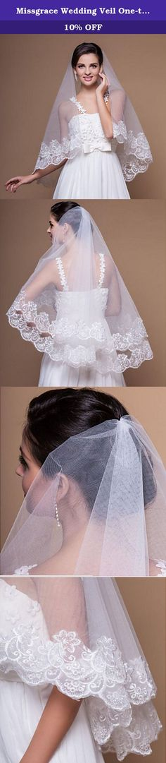 Missgrace Wedding Veil One-tier Elbow Veils Lace Applique Edge 59.06 in (150cm) , Ball Gown, Princess, Sheath(White). Gorgeous Blusher veils Easy to attach to the hair through a comb. This veil is the perfect complement to any gown, with looks ranging from simply elegant to ultra-glamorous. Just think of the dramatic image created when the light, flowing fabric catches the wind. This beautiful wedding veil suits all brides well. This veil completes the look that you are looking for on the...
