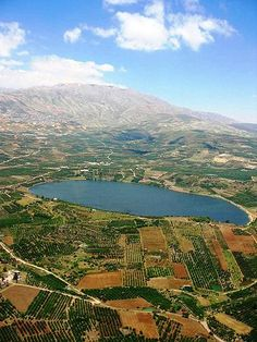 The Golan Heights Hebrew: רמת הגולן, Ramat Ha-Golan), also called the Golan is a region in the Levant - Lake Ram near Mount Hermon (background), in the northeastern Golan Heights