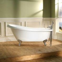 Buy Park Royal Freestanding Slipper Bath from Appliances Direct - the UK's leading online appliance specialist Bathroom Layout, Modern Bathroom, Wall Mounted Bath Taps, Freestanding Taps, Bath Mixer Taps, Amazing Bathrooms, Better Bathrooms, Cast Iron Bathtub, Roll Top Bath
