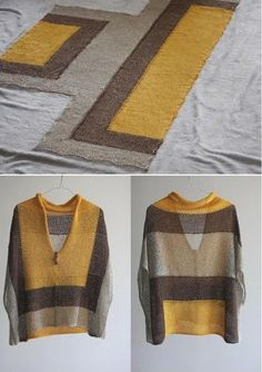 Knitting inspiration: sheer fabric color blocks not my colours but easy peasy style.Sweet, simple poncho by imogeneAbout Japanese knitters: ru_knittingIn the Buru suitcase: Tutorial of the poncho with only three seams: - Diy And CraftIdea for a simpl Crochet Clothes, Diy Clothes, Knitted Poncho, Sheer Fabrics, Loom Knitting, Pulls, Knitting Projects, Knitwear, Knit Crochet
