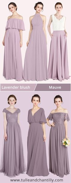 Fall wedding color ideas with mismatched purple bridesmaid dresses on budget in mauve and lavender blush Junior Bridesmaids, Purple Bridesmaid Dresses, Wedding Gifts For Bridesmaids, Wedding Planning, Wedding Ideas, Tango Dress, Mauve Dress, Fall Wedding Colors, Long Shorts