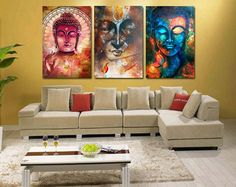 Buddha Painting 3 Pieces Canvas Wall Art