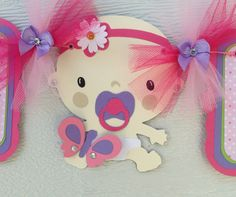 Butterflies and daisies baby shower banner with baby girl, its a girl banner, pink, lime green, and lavender on Etsy, $35.00