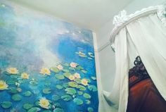 Ciel de lit canopy by my own fair hands, and my Monet painting. I hope you like my work merci beaucoup