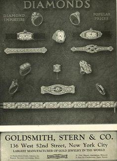 Vintage Art Deco Era diamond jewelry ad, circa 1920s. Stern & Co Goldsmith   https://www.facebook.com/MaejeanVINTAGE