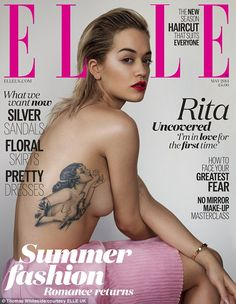 Rita Ora Shows Off Tattoo in Topless Sexy 'Elle UK' Cover!: Photo Rita Ora goes topless on the cover of Elle UK magazine's May 2014 issue, out on newsstands on April Sexy Tattoos, Body Art Tattoos, Girl Tattoos, Tatoos, Pin Up Girl Tattoo, Classy Tattoos, Fashion Tattoos, Pretty Tattoos, Rita Ora Tattoo
