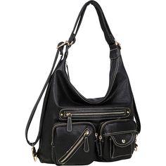 Dasein Soft Faux Leather Shoulder Bag and Backpack - Black - Shoulder... ($37) ❤ liked on Polyvore featuring bags, backpacks, black, mini rucksack, miniature backpack, shoulder strap bags, day pack backpack and backpack shoulder bag