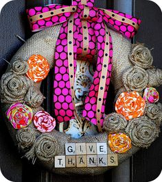 Give Thanks -- Make a Burlap Scrabble Wreath! -- Tatertots and Jello! Such a perfect wreath for #Thanksgiving