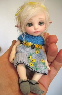 Fairy, elf, pukifee, bjd. GREAT HAIR, DONT LIKE KNITTED DRESSES ON BJDS THOUGH