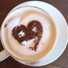 #coffee #heart shaped with eyes and mouth.... (hmmm... so delicious!)