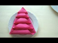Pliage serviette noël: Le sapin - Pliage de serviette en papier - Décoration pour noël - YouTube