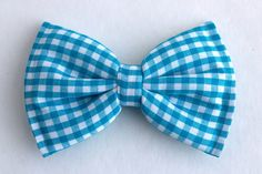 Boys Bow Tie Turquoise Blue Gingham Newborn Baby by lollyludesigns, $6.95