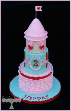 Vintage Carousel themed cake with ruffles and a tent.  www.facebook.com/i.love.cuteology.cakes