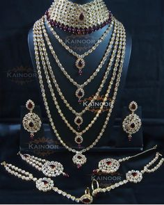 """""""''Jodha'' Bridal set with champagne and maroon stones including choker, Rani haar, earrings,tikka,hand jewellery,Jhumar,nose ring. This set can be…"""""""