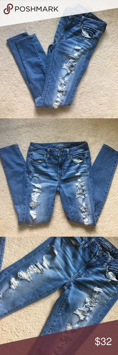 American Eagle super super stretch jegging Size 8, #destroyed #hott #new #denim #jegging #stretch #fall #flawless # American Eagle Outfitters Jeans Skinny