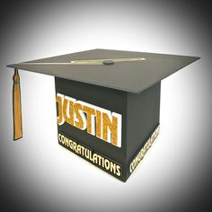 Graduation Gift Card Box with glittery and multi-layered name. Plenty big for loads of cards and comes with a trap door on the bottom to remove the cards without damaging the box. Perfect for that display table or Welcome/Placecard table.