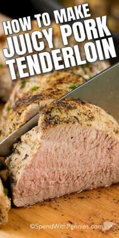 This juicy Pork Tenderloin recipe is so easy to prepare and the result is incredibly tender. A delicious main dish alongside is fast enough to make on a busy weeknight and elegant enough to serve to guests at a dinner party! for dinner for two main dishes Rib Recipes, Pork Chop Recipes, Cooking Recipes, Easy Recipes, Juicy Pork Tenderloin Recipe, Pork Loin, Roasted Pork Tenderloins, How To Cook Pork, Filets