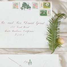 Organic Botanical Vintage Stamp Envelope with rose ink Calligraphy for Santa Barbara wedding | hello@honey-paper.com #californiawedding