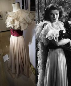 Calla lilies: Terry Randall's costume today, and as Hepburn wore it in Stage Door