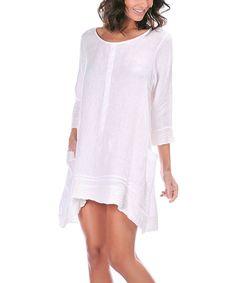 White Linen Hi-Low Dress