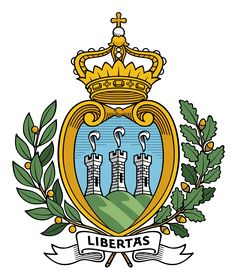Coat of Arms of San Marino The COA features three hills --the three summits of Monte Titano. On them are three towers- the citadels La Guaita, La Cesta, and La Montale. Each has an ostrich feather design weather vane on top.
