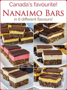 The Nanaimo Bar Recipe Collection. 6 flavours for more Nanaimo Bar love! The Nanaimo Bar Recipe Collection - from an improved classic recipe to great new versions like Irish Cream, orange or raspberry; 9 new flavours to love! Nanaimo Bars, Just Desserts, No Bake Desserts, Dessert Recipes, Rock Recipes, Sweet Recipes, Christmas Desserts, Christmas Baking, Christmas Recipes