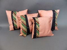 Group of Four Accent pillows with Vintage neckties by JoBieBags,