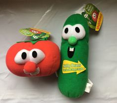 VeggieTales Tomato Bob and Cucumber Larry Plush with Jelly Beans Lot #VeggieTales