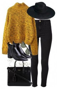 Stylish & Comfy Outfit with Black Skinny Jeans for Winter with colorful knit jumper, hat and black ankle boots A fashion look from August 2015 by roxy-camarena featuring Acne Studios, Yves Saint Laurent, Emily Amey Jewelry, Forever Ray-Ban and ASOS Mode Outfits, Casual Outfits, Fashion Outfits, Fashion Clothes, Fashion Accessories, Fashion Tips, Fashion Trends, Fall Winter Outfits, Autumn Winter Fashion