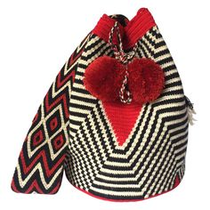 These double thread Wayuu mochila bags are all made in the region of La Guajira, Colombia by indigenous Wayuu women. Mochila bags are a very important handicraft that helps sustain the indigenous Wayuu people. These bags take approximately 10 days to make. The craft of crocheting is learnt at an early age and passed down from generation to generation. The mochilas are a reflection of the everyday shapes that surround the lives of the Wayuu tribe. Buy yours at www.lombiaandco.com Tapestry Bag, Crochet Bags, 10 Days, Women Empowerment, Handicraft, Vivid Colors, Bucket Bag, Macrame, Crocheting