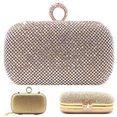 Rhinestone Crystalized Gold Evening Clutch Bag One Ring Center USA Seller | eBay