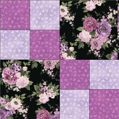 17 Best ideas about Purple Quilts : Shades of Purple Embellished with Silk Ribbon Crazy Quilt BlockUse for Frozen quilt border?Lavender roses, Floral quilts andSimple block, great for a good focal fabric! Quilting For Beginners, Quilting Tutorials, Quilting Projects, Quilting Designs, Easy Quilt Patterns, Pattern Blocks, Patchwork Quilt, Floral Quilts, Purple Quilts