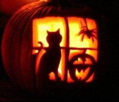 Black Cat and Spider Halloween Pumpkin