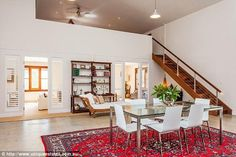 Architectural features: Mezzanine levels and custom built staircases set the expansive homestead apart Architectural Features, Byron Bay, Homesteading, Real Estate, Barns, Cottages, Architecture, Building, Interior