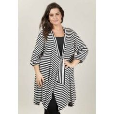 Loose Striped Jacket-FDC395 Striped Jacket, Sale Items, That Look, Tunic Tops, Plus Size, Casual, Jackets, Construction, Clothes