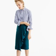 collection ruffle pencil skirt in double-faced satin : women's skirts